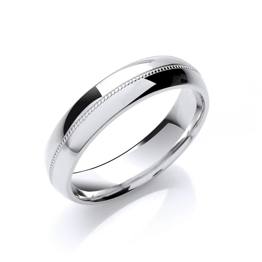 Court Shape Mill Grain Centre Line wedding ring