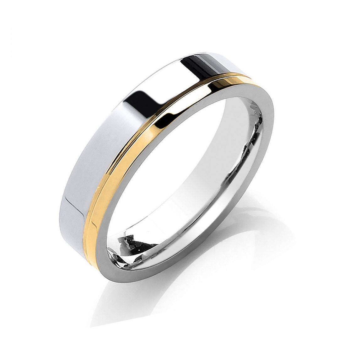 Flat Court Two Colour Side Groove Wedding Band