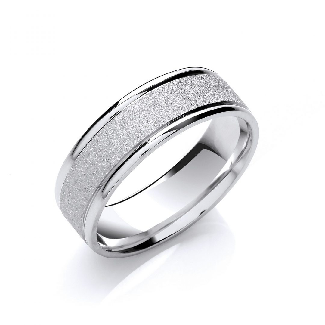 Grind Stone Sandblast Centre & Smooth Edges wedding ring