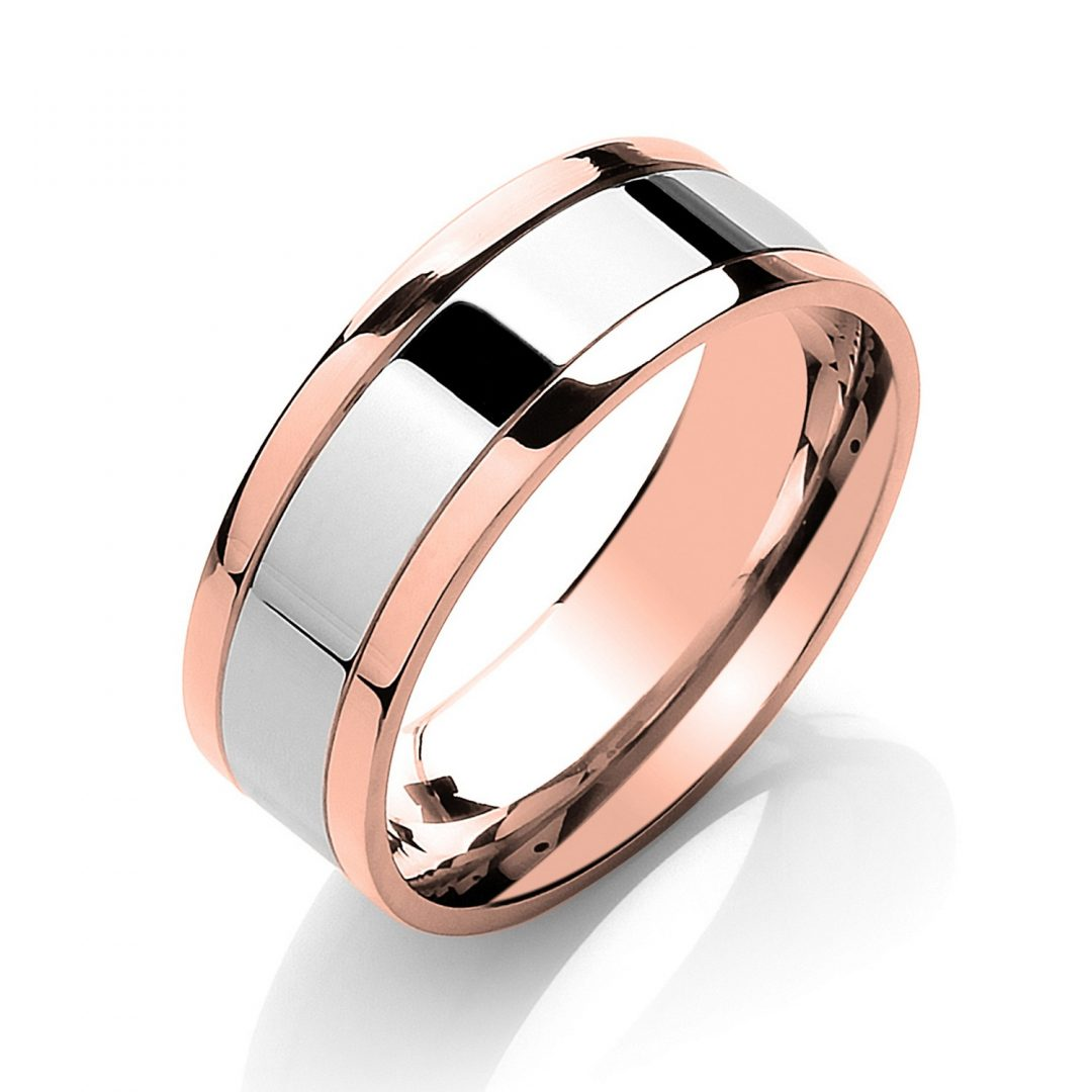 Flat Court Two Colour with Parallel Groove Wedding Band