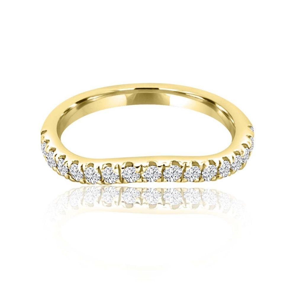 Arched gold Diamond Set wedding Ring