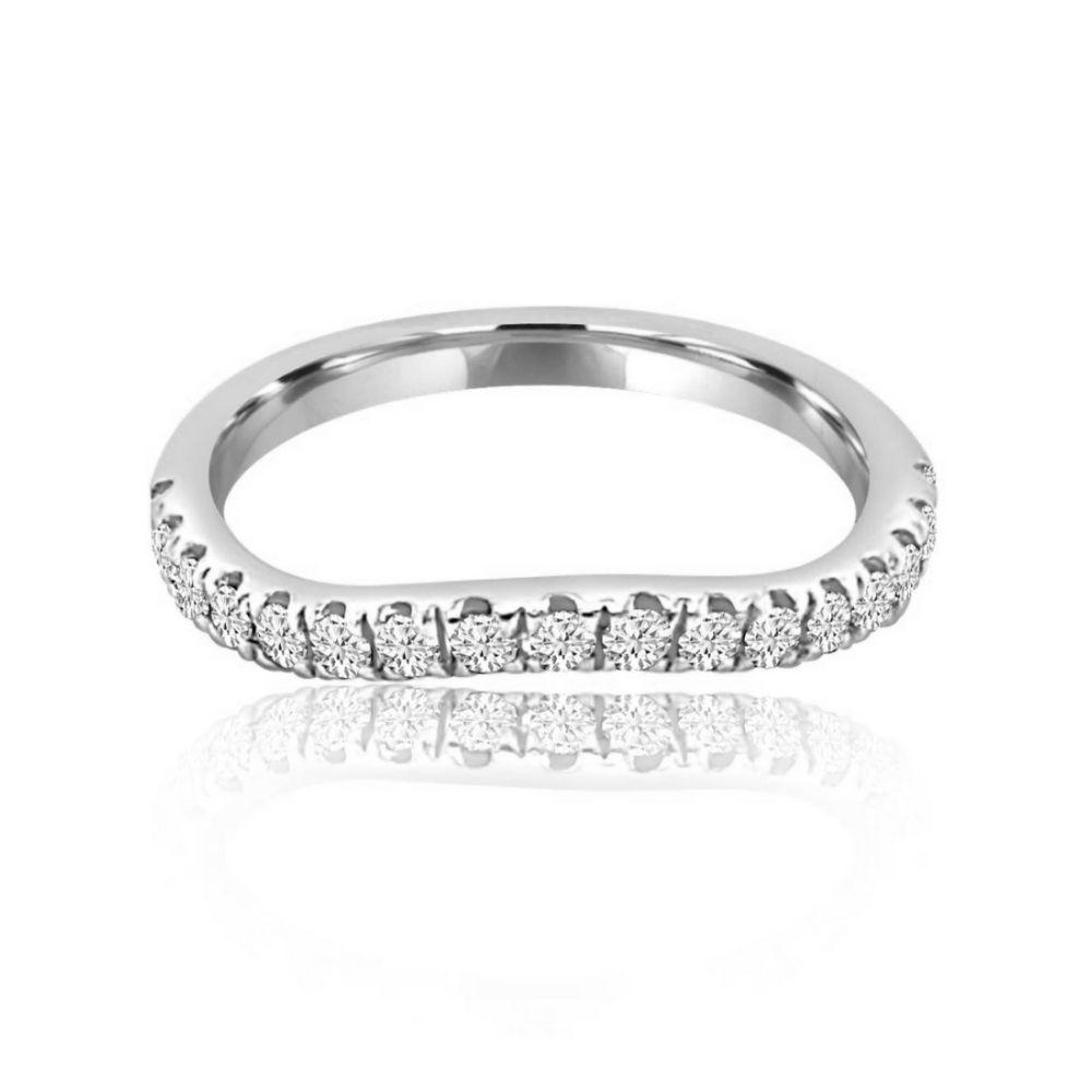 Arched white gold Diamond Set wedding Ring