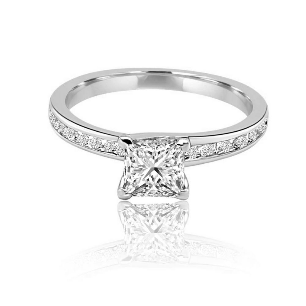 Full White Gold Channel Set Princess Cut Diamond Engagement Ring flat
