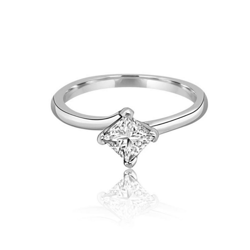 Full White Gold princess cut engagement ring twisted Claw Flat