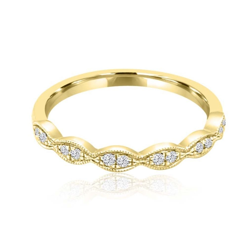Millgrain pattern gold Set Diamond Set wedding Ring