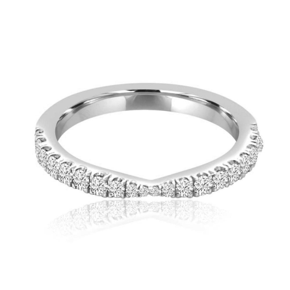 Tapered White gold Set Diamond Set wedding Ring