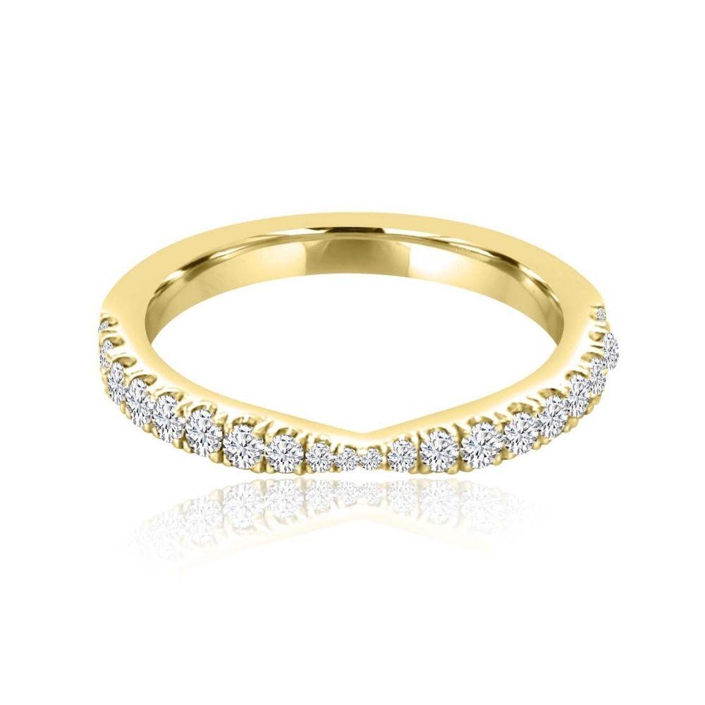 Tapered gold Set Diamond Set wedding Ring