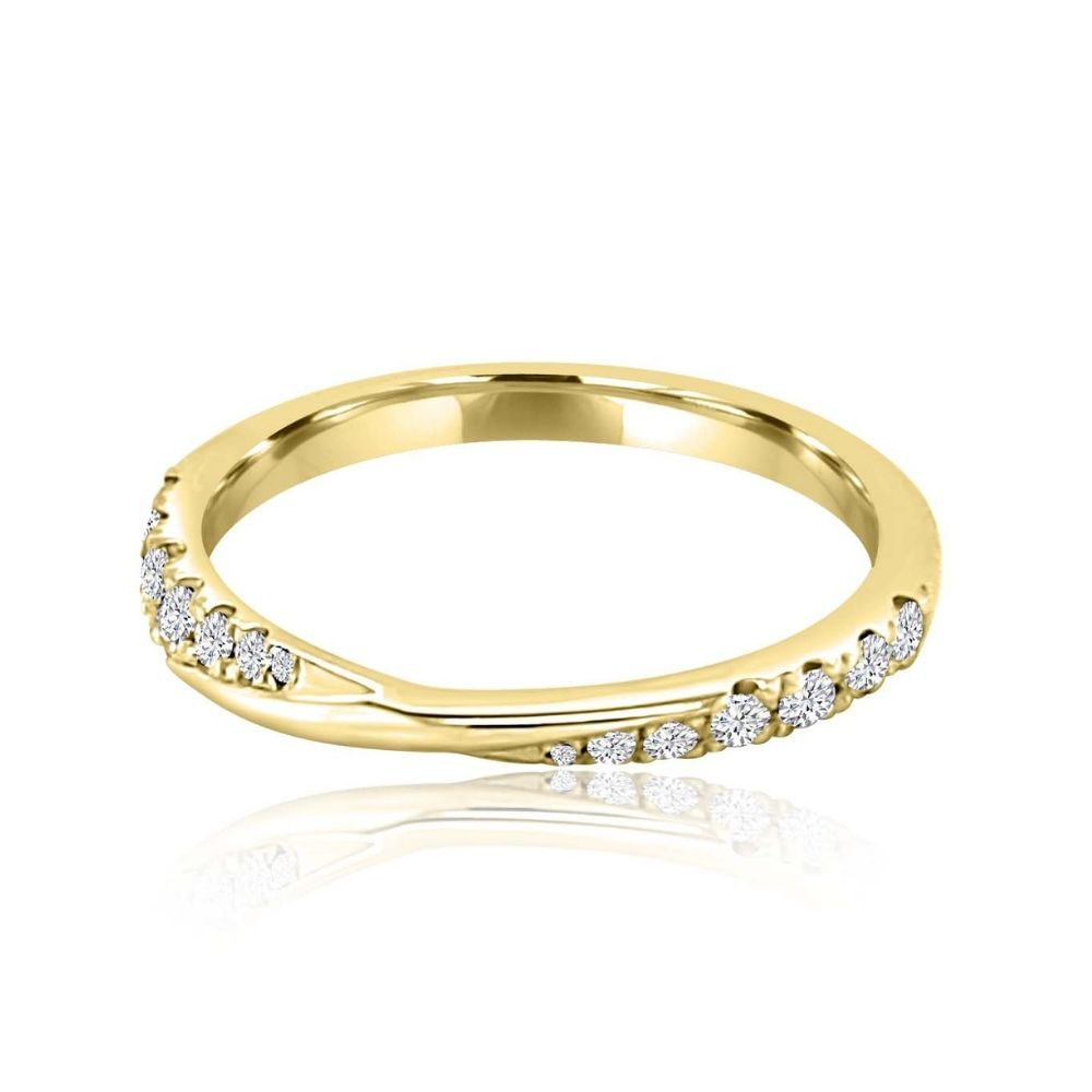 Twisted wedding gold diamond Set Diamond Set wedding Ring