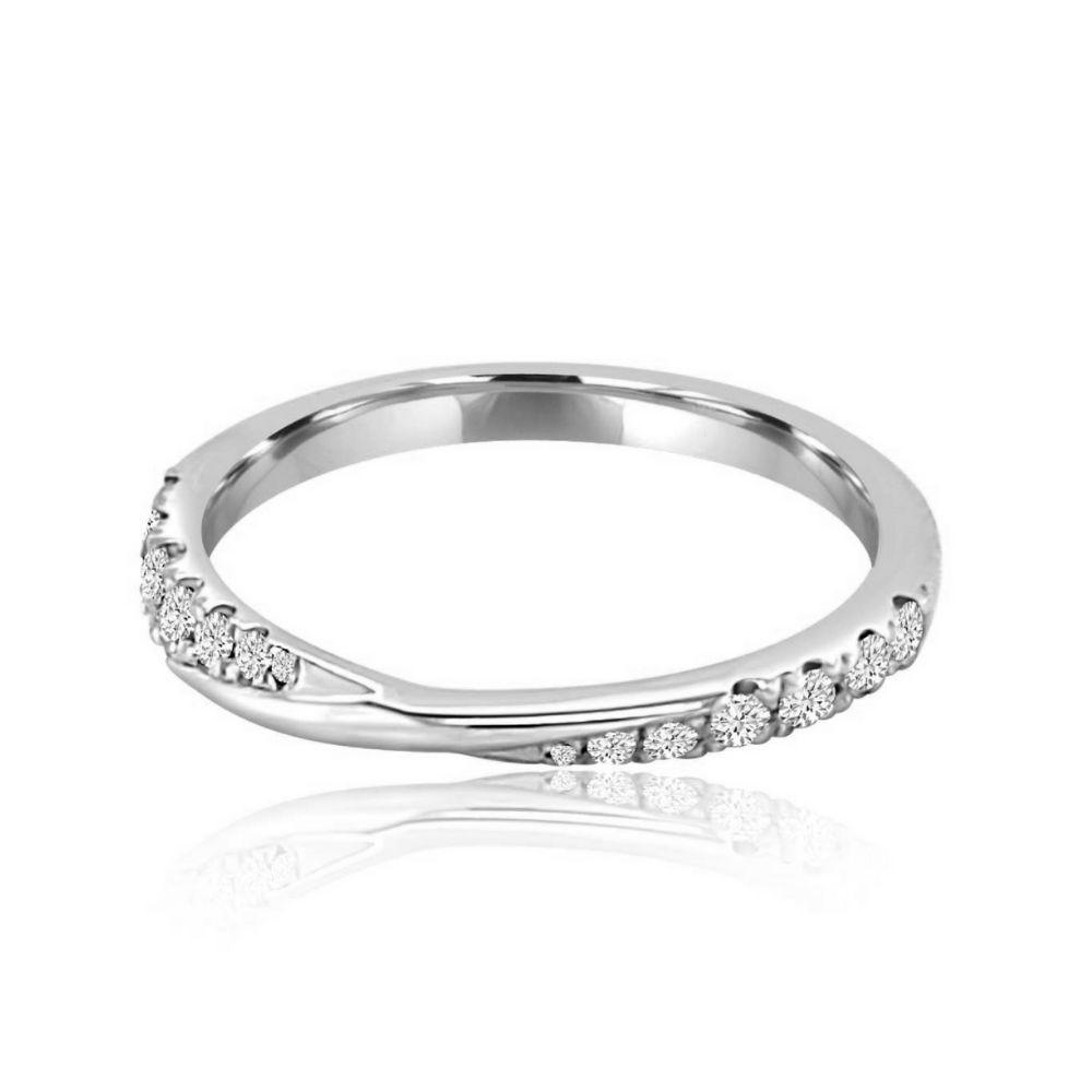 Twisted shank white gold Set Diamond Set wedding Ring