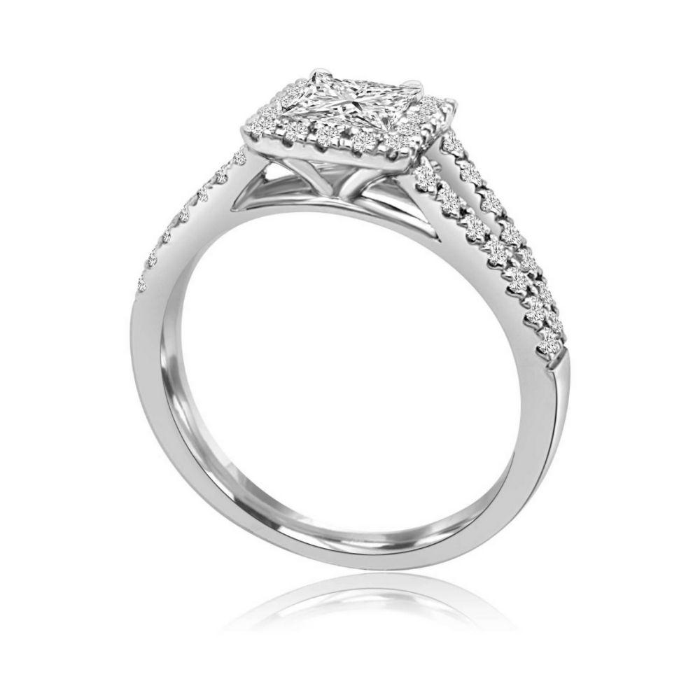 White Gold Double Shoulder princess cut engagement ring