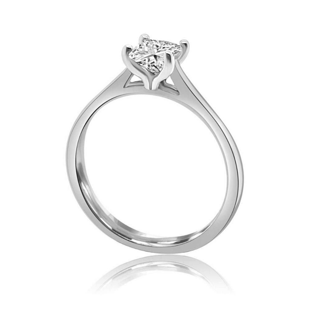 White Gold princess cut 4 Claw Tulip Engagement Ring white gold Claw
