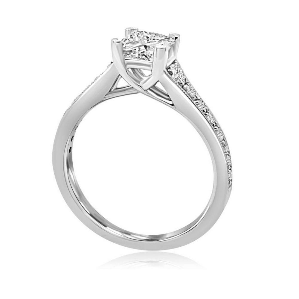 White Gold princess cut 4 Claw cross bridge diamond shoulder bridge Engagement Ring white gold Claw