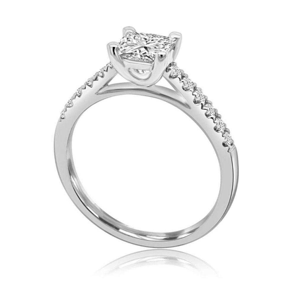 White Gold princess cut 4 Claw diamond shoulder bridge Engagement Ring white gold Claw