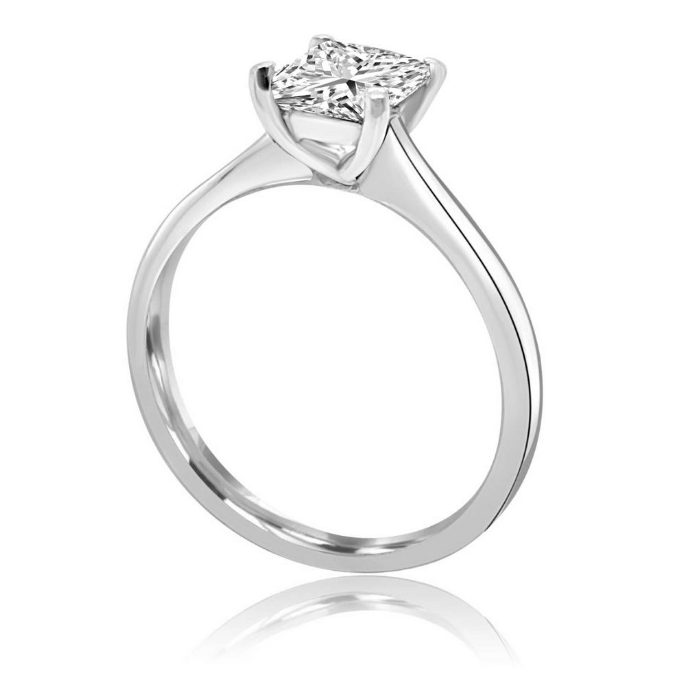 White Gold princess cut diamond solitaire Engagement Ring white gold Claw