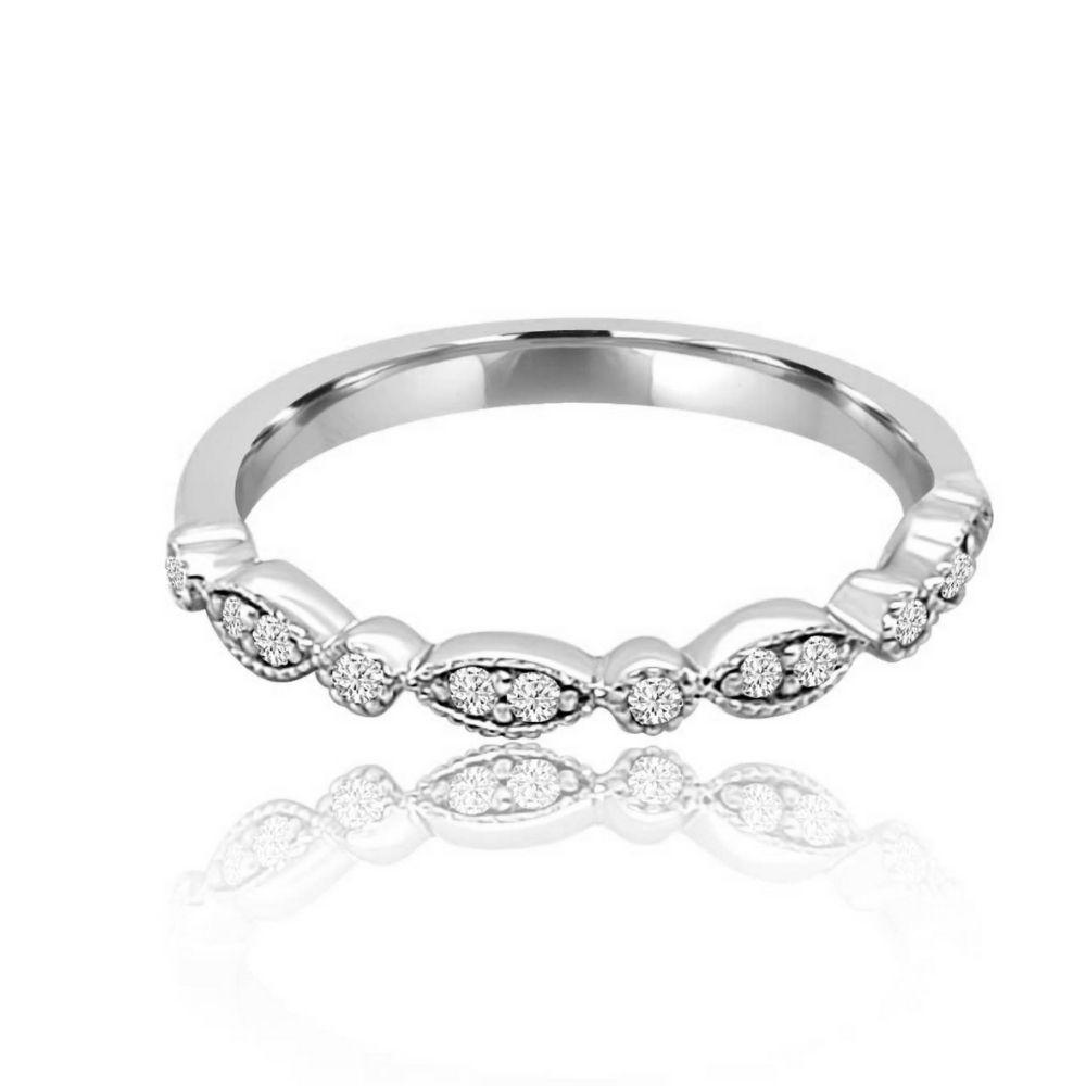 White gold Millgrain Set Diamond Set wedding Ring